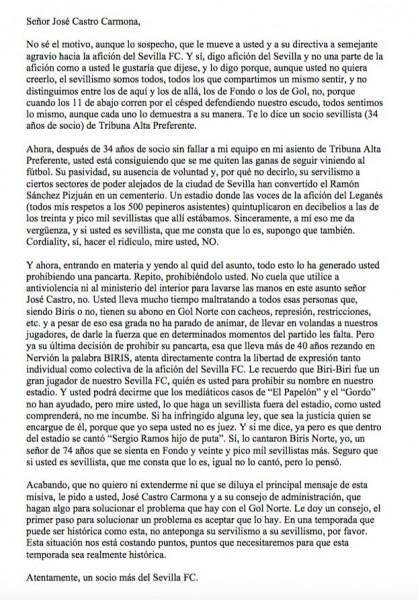 Carta de un sevillista a Pepe Castro