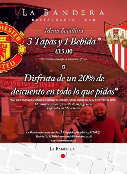 Foto: Menú para sevillistas de bar español en Manchester