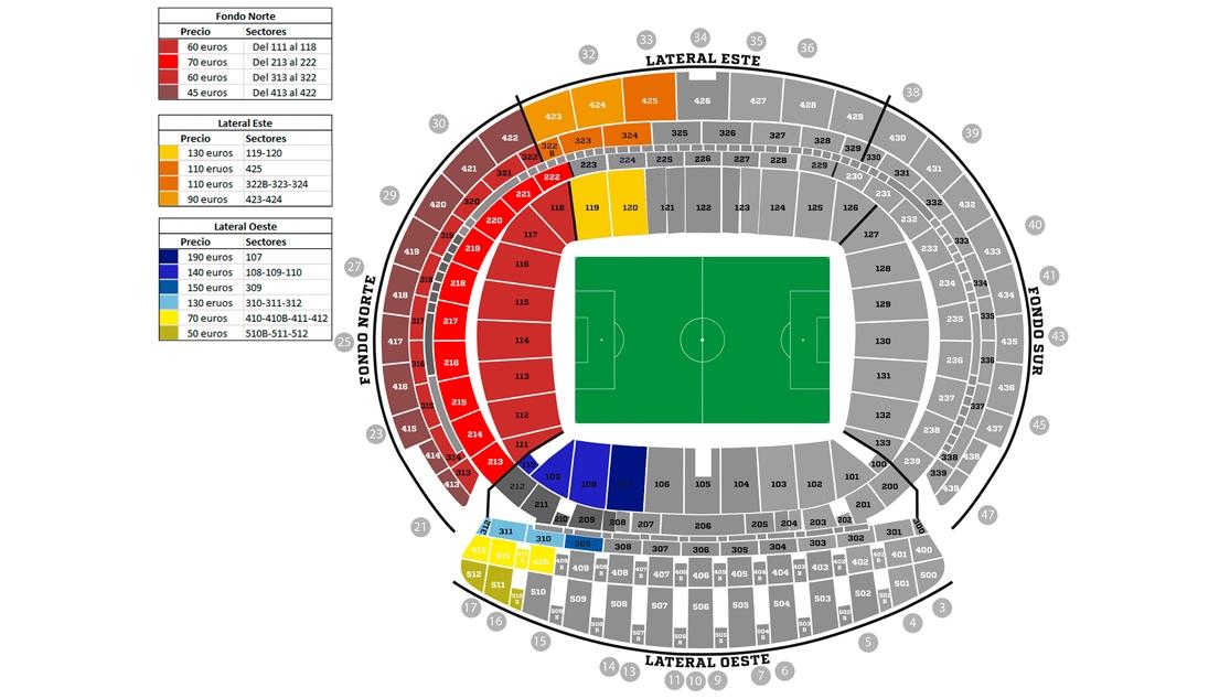 Plano con entradas y precios para la Final de Copa