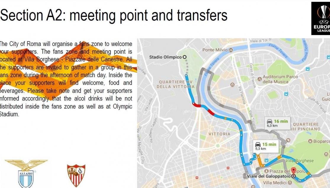 Casi 2.000 aficionados apoyarán al Sevilla en Roma