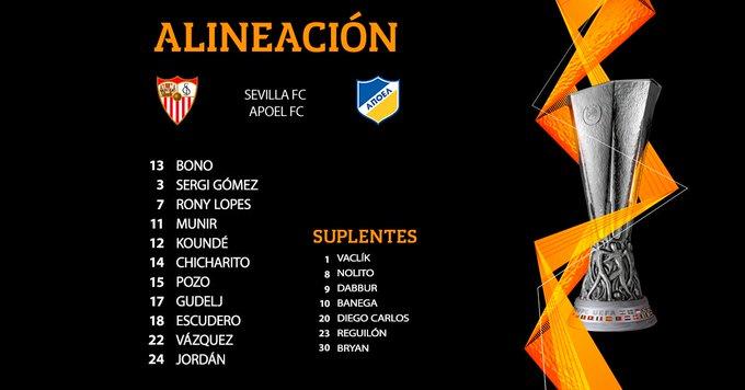 Once del Sevilla FC contra el Apoel