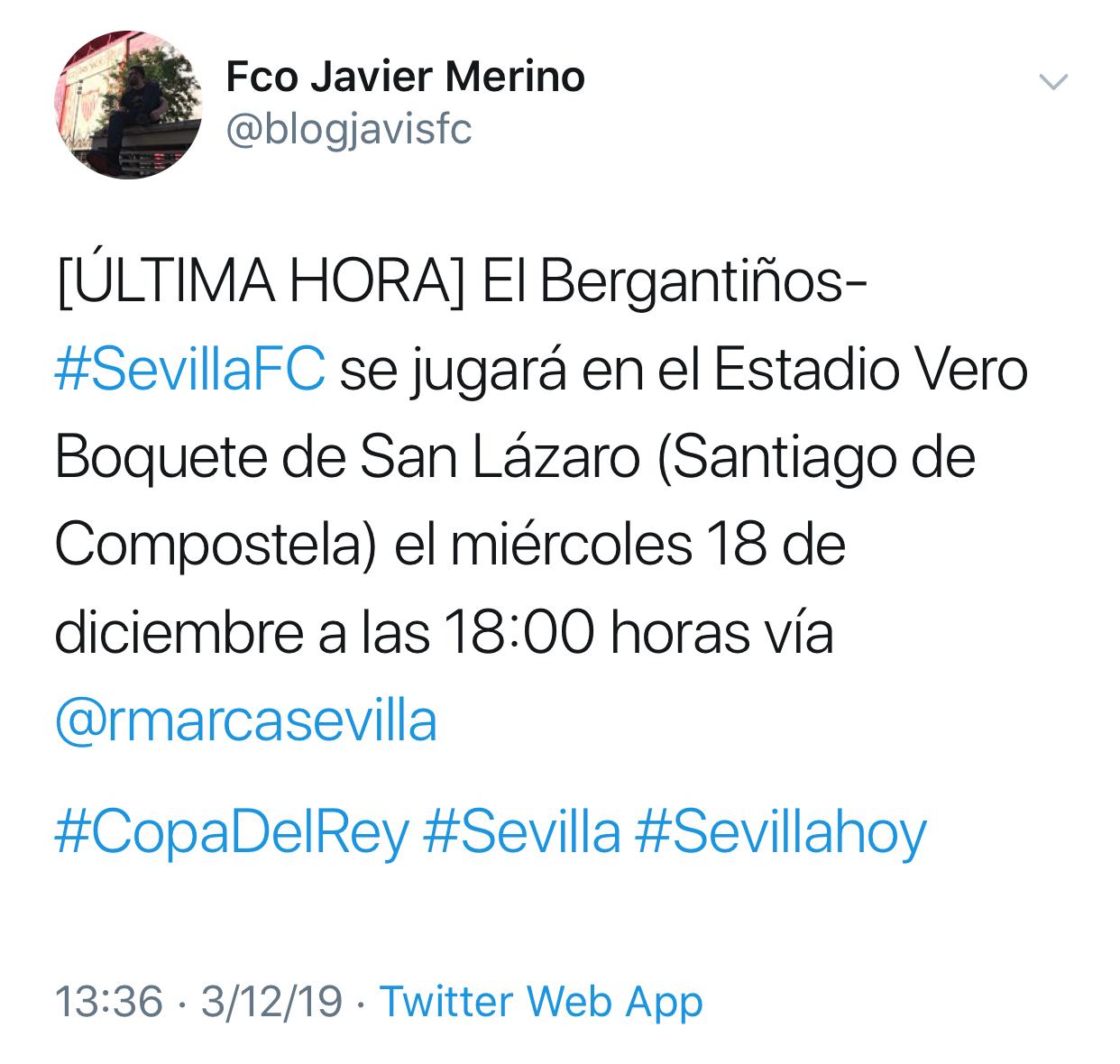 Ya hay Horario, Fecha y Estadio para el Bergantiños-Sevilla FC