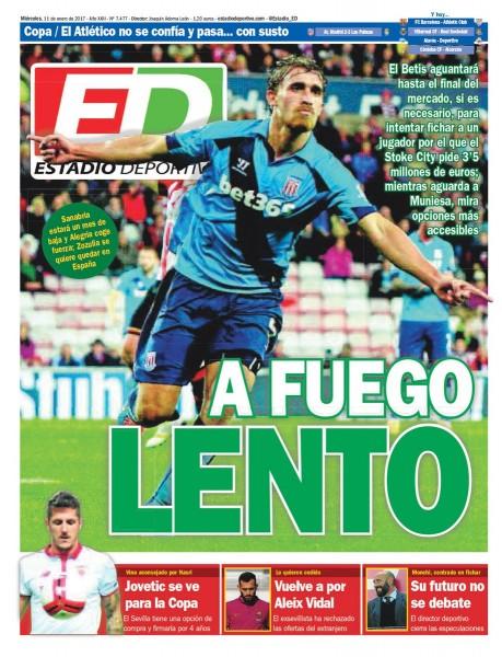 Portada ED - Vuelve a por Aleix Vidal, el futuro de Monchi no se debate y Jovetic se ve para la Copa