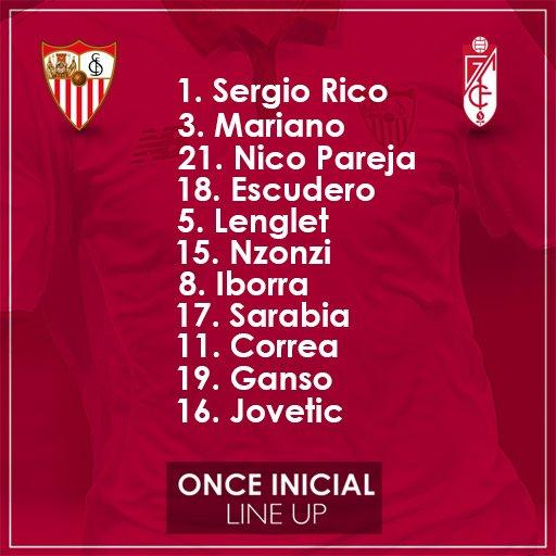 Once del Sevilla FC contra el Granada con Ganso como titular!!