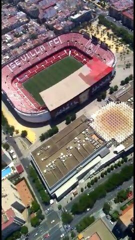 Foto: Así va la pintura de la visera del Estadio, visto en ForoSevillaGrande