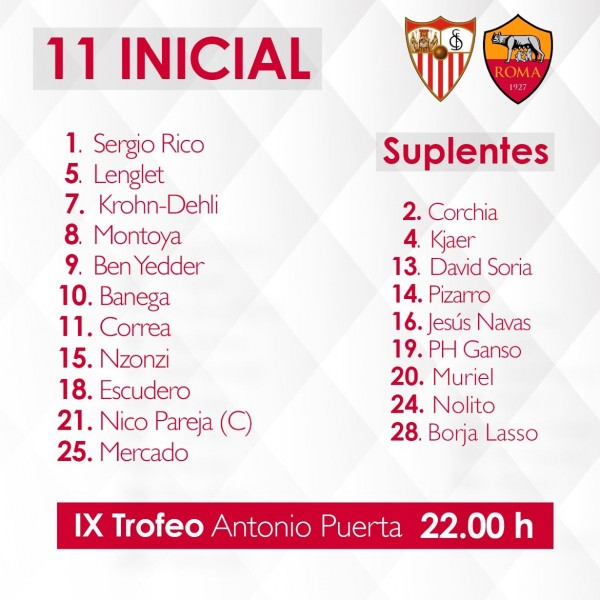 Once del Sevilla FC ante la Roma en el Trofeo Antonio Puerta