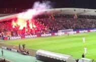 Vídeo: Ojo, lanzamiento de bengala que casi da al árbitro en Maribor