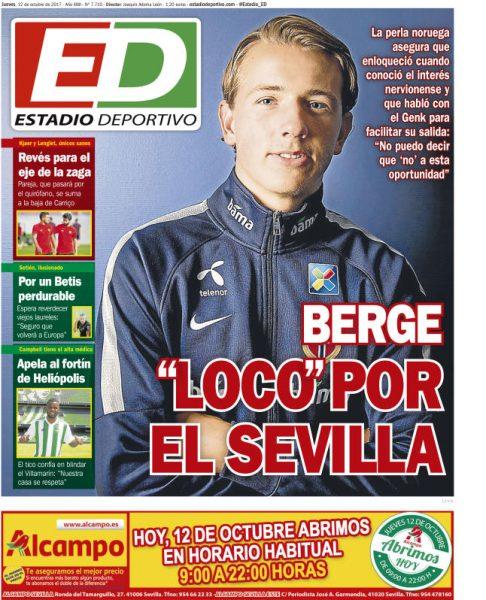 Portada ED - Berge, 'loco' por el Sevilla