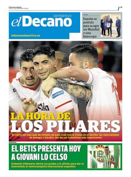 Portadas de los diarios Deportivos Sevillanos (13/09/2018)
