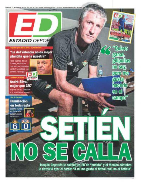 Portada ED - Caparrós pone buena nota a la planificación y Setién no se calla