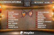 Lista de 18 para Valencia con algunas novedades