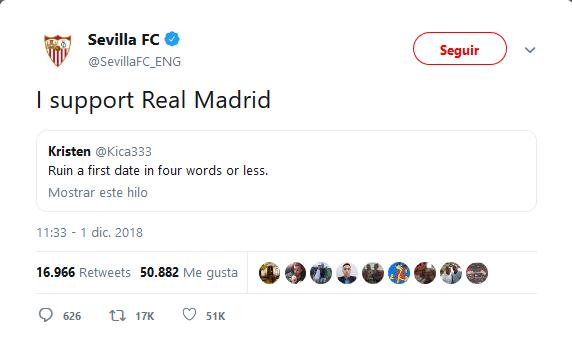 El troleo del Sevilla al Madrid en Twitter