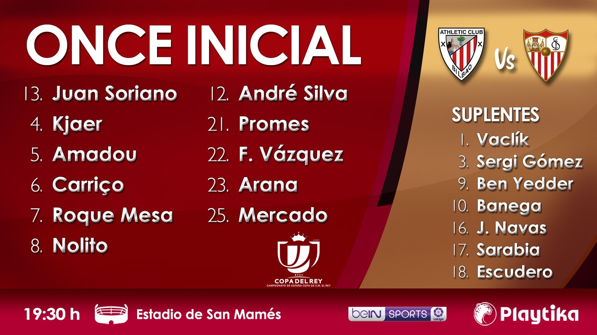 Once del Sevilla FC contra el Athletic
