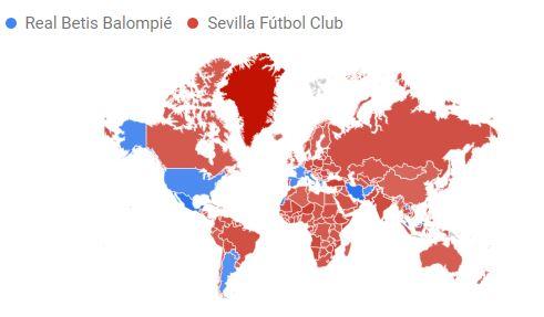 El Sevilla triunfa en el mundo en búsquedas de Google frente al Betis (Incluye gráfico)