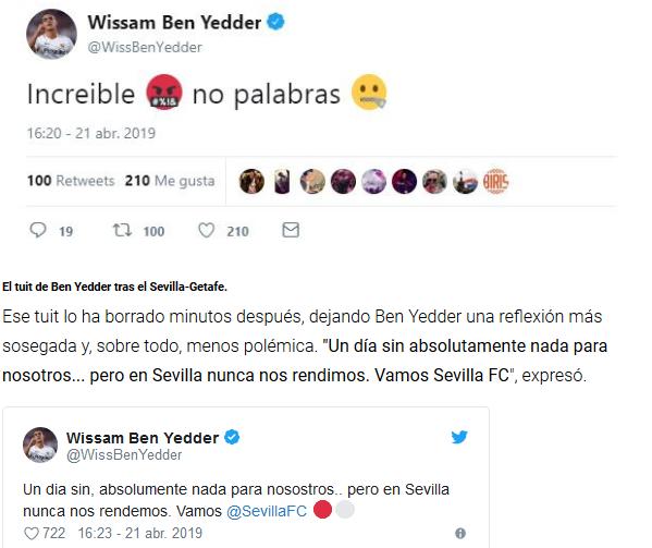 El 'cabreo' de Ben Yedder en Twitter que ha tenido que borrar