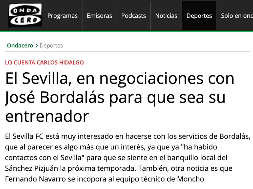 Según adelantó Onda Cero, el Sevilla quiere a Bordalás como entrenador