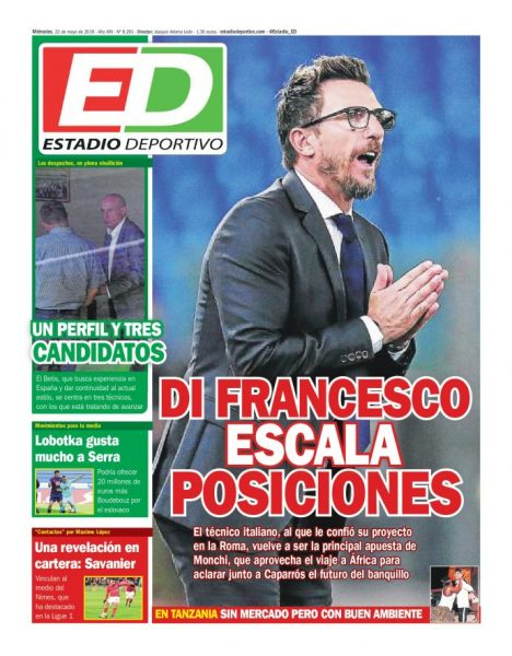 Portada ED - Di Francesco escala posiciones y Savanier en cartera