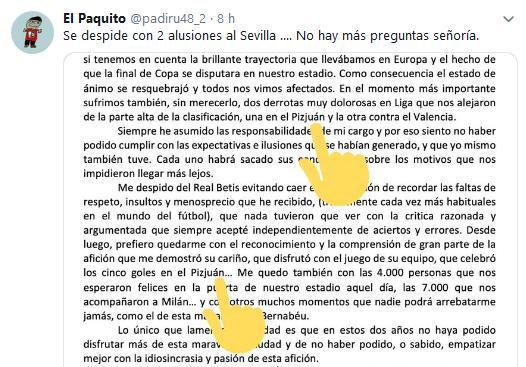 Quique Setién se despide con dos alusiones al Sevilla FC en su carta