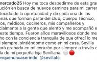 Mensaje de despedida de Gabi Mercado de la afición del Sevilla FC
