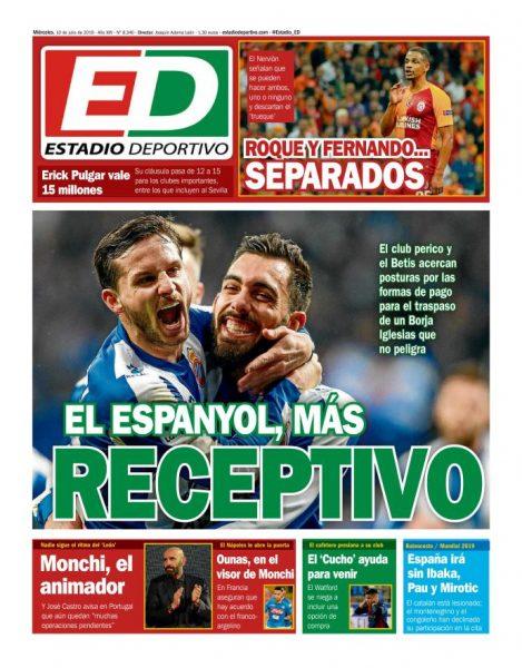 Portada ED - Erick Pulgar vale 15 millones, Roque y Fernando separados y Ounas en el visor de Monchi