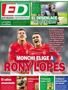 Portada ED – Monchi elige a Rony Lopes, el adiós anunciado y confianza en la cantera