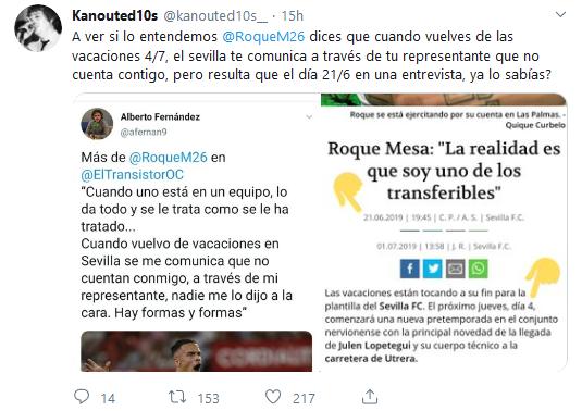 Roque Mesa olvida que dijo que sabía de su salida antes de llegar de vacaciones, vía @kanouted10s__