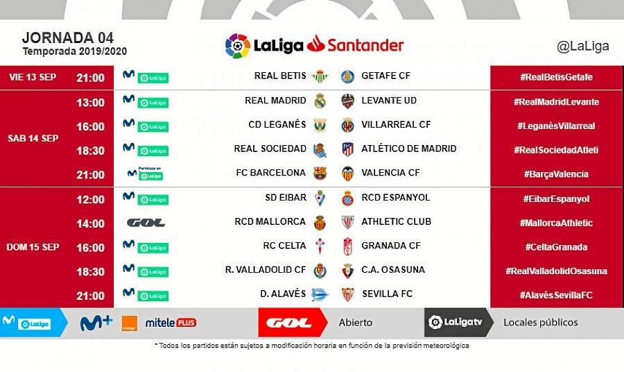 Foto: LaLiga revela los horarios de la cuarta jornada