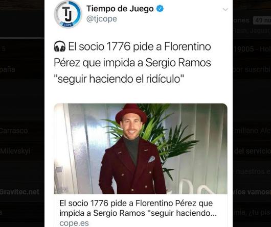 Foto: La curiosa propuesta de un socio del Madrid a Florentino respecto a Sergio Ramos