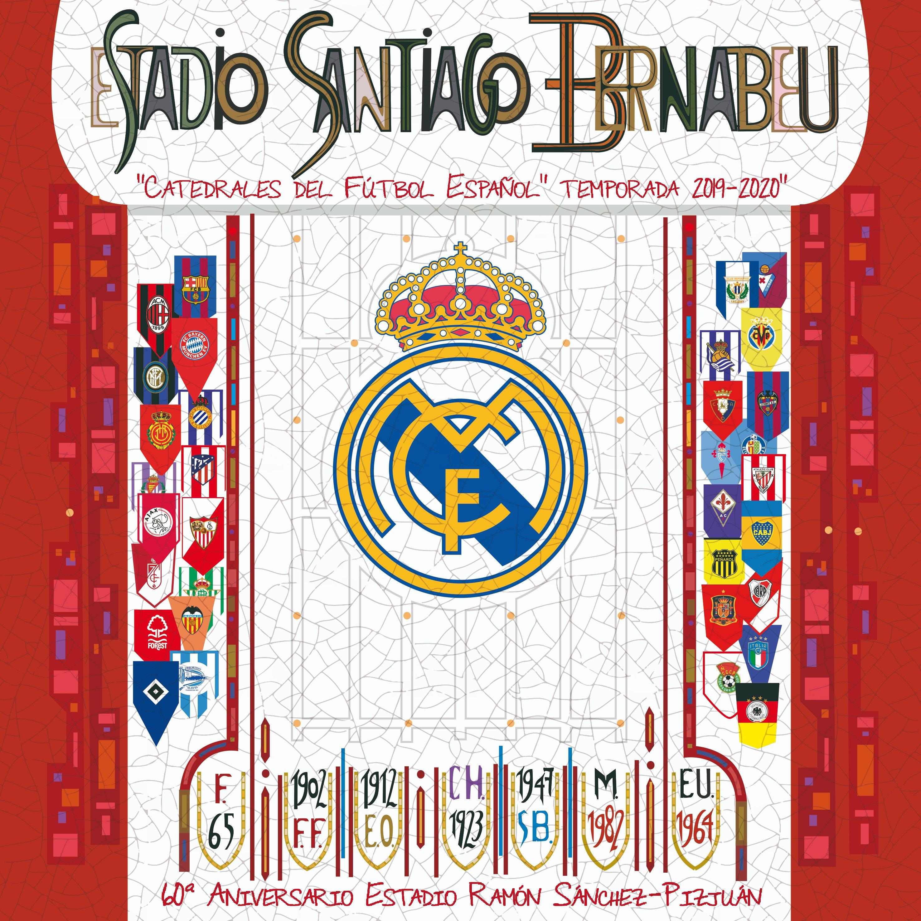Fotos: El Sevilla regala al Real Madrid una réplica del mosaico de preferencia con el escudo merengue