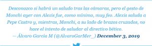 Monchi aclara la polémica de su «no saludo» a Alexis