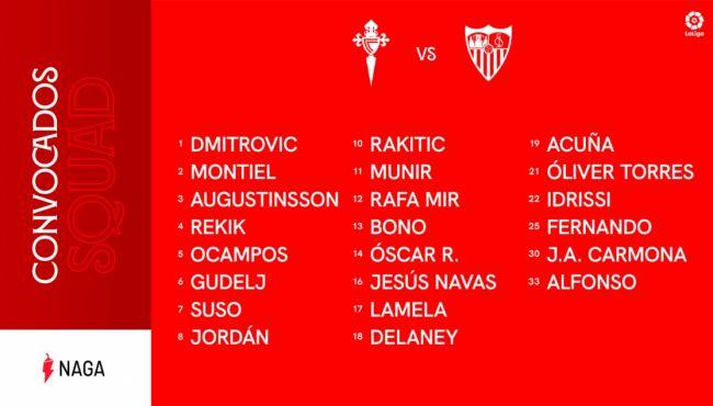Cuatro bajas importantes del Sevilla para Vigo